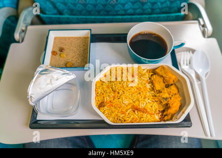 Healthy food on the plane with coffee - Stock Photo