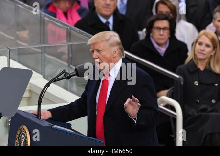 President Donald Trump delivers his Inaugural address after taking the oath of office to become the 45th President - Stock Photo