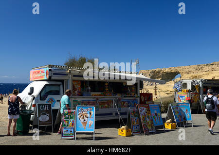 ice cream van stand stall refreshment refreshments tourist attraction azure window gozo island Malta Mediterranean - Stock Photo