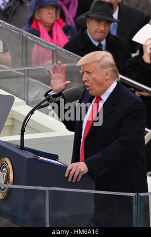 President Donald Trump delivers his Inaugural address after being sworn-in as the 45th President on Capitol Hill - Stock Photo
