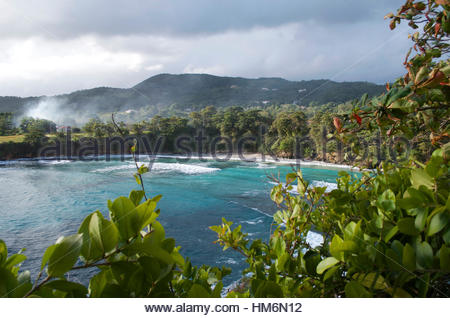 A beautiful morning view of Boston Bay, Jamaica. - Stock Photo