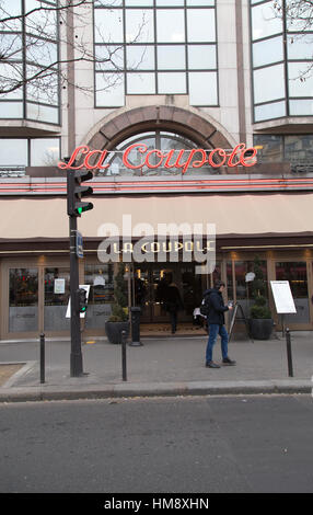 Exterior La Coupole Brasserie Montparnasse in the 14th arrondissement of Paris in winter - Stock Photo