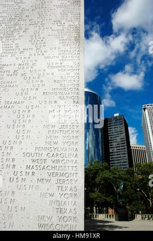 USA, New York City, names of the American soldiers dead during World War II, in Battery Park - Stock Photo