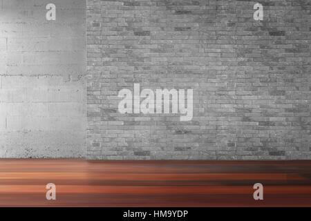 Living room brick wall old wooden floor in empty interrior - Stock Photo
