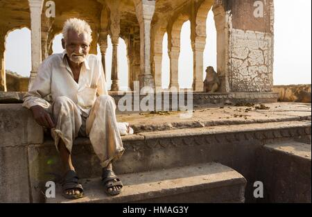 Old man in the Surya Mandir. Jaipur, Rajasthan, India - Stock Photo