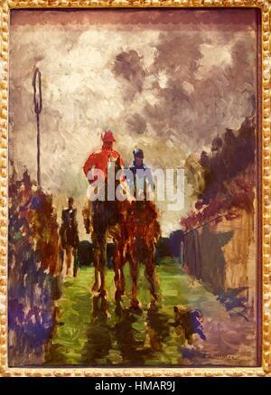 '''The Jockeys'',1882, Henri de Toulouse-Lautrec, Thyssen-Bornemisza Museum, Madrid, Spain - Stock Photo