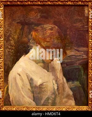 '''La Rousse in a White Blouse'',1889, Henri de Toulouse-Lautrec, Thyssen-Bornemisza Museum, Madrid, Spain - Stock Photo