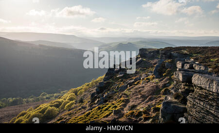 Beautiful view from Bamford edge in the Peak District on a sunny summer evening. - Stock Photo