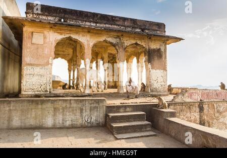 Ordinary life around of sun Temple named Surya Mandir. Jaipur, Rajasthan, India - Stock Photo