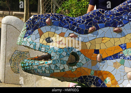 Ceramic Lizard, Water Fountain, by steps, Gaudi's, Guell Park, Barcelona, Spain - Stock Photo