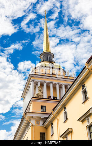 The Admiralty building against the blue sky in St. Petersburg, Russia. Built in 1823 - Stock Photo