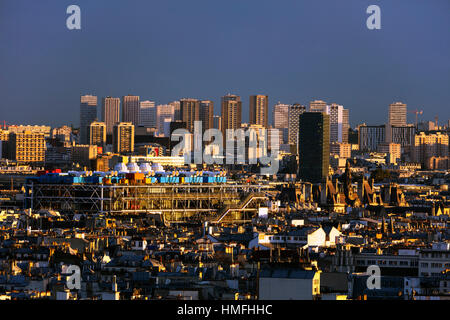 City skyline from Montmartre, Centre Georges Pompidou designed by Renzo Piano and Richard Rogers, Paris, France - Stock Photo