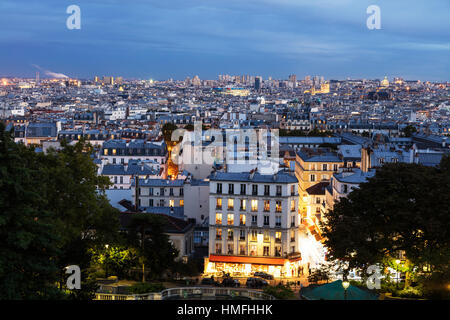 City skyline from Montmartre, Paris, France - Stock Photo