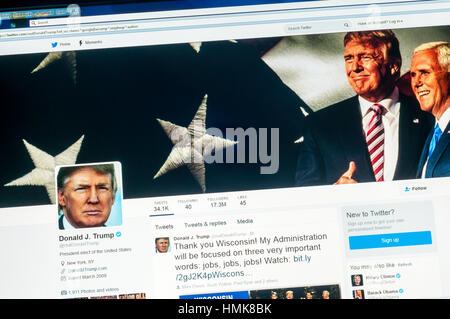 The Twitter account of Donald Trump the President of the United States of America. - Stock Photo