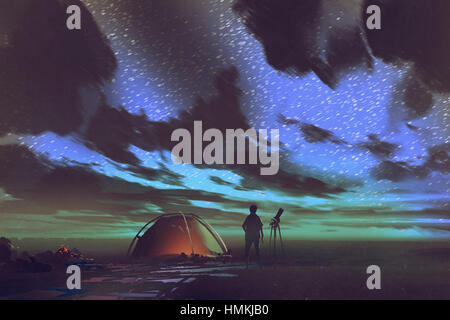 man with telescope standing by tent looking at the sky at night,illustration painting - Stock Photo