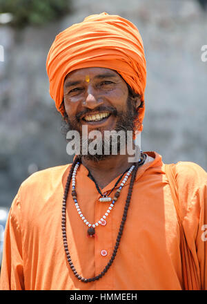 Indian beared Sadhu holy man with golden Bindi (golden dot) - Stock Photo