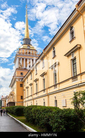 ST.PETERSBURG, RUSSIA - JULY 31, 2016: The Admiralty building against the blue sky in St. Petersburg, Russia. Built - Stock Photo