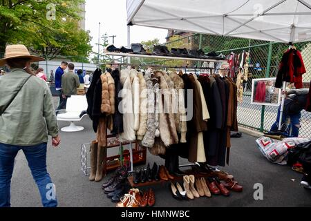 Vintage clothing, shoes, Brooklyn Flea in October, New York City, USA - Stock Photo