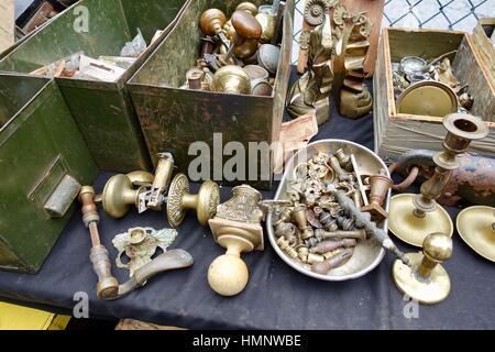 Brass hardware, door knobs, Brooklyn Flea in October, New York City, USA - Stock Photo