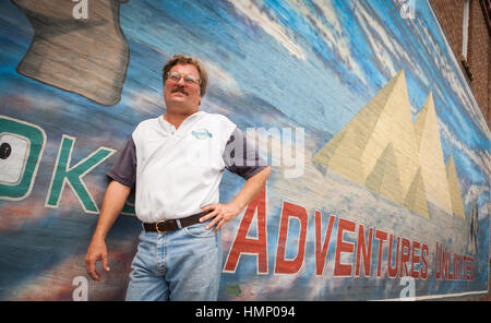 Author David Hatcher Childress at the World Explorers Club in Kempton, Illniois. - Stock Photo