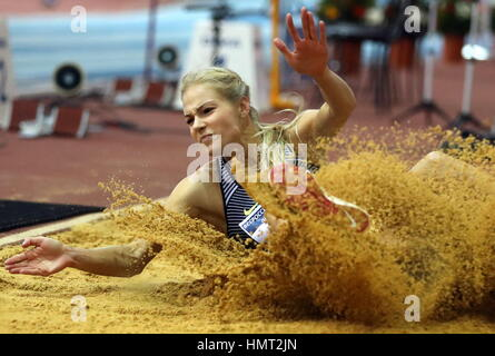 Moscow, Russia. 5th Feb, 2017. Russia's Darya Klishina competes in the long jump event at the 26th Russian Winter - Stock Photo