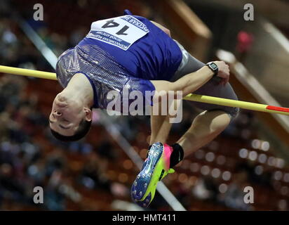 Moscow, Russia. 5th Feb, 2017. Russia's Ilya Ivanyuk competes in the high jump event at the 26th Russian Winter - Stock Photo