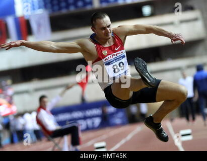 Moscow, Russia. 5th Feb, 2017. Russia's Alexander Yurchenko competes in the triple jump event at the 26th Russian - Stock Photo