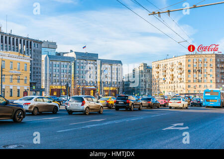 Moscow, Russia. 5th Feb, 2017. Audit Chamber of the Russian Federation on Zubovskaya square. Cold but sunny and - Stock Photo