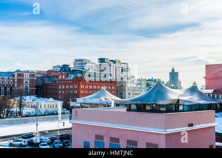 Moscow, Russia. 5th Feb, 2017. Old industrial place of the city was converted into the modern residential, educational - Stock Photo