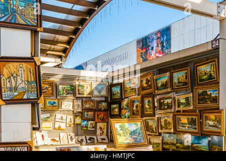 Moscow, Russia. 5th Feb, 2017. Selling fine art by Tretyakov art gallery branch in Museon Park Of Arts. Open air - Stock Photo