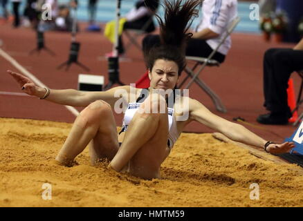 Moscow, Russia. 5th Feb, 2017. Russia's Yekaterina Solovyeva competes in the long jump event at the 26th Russian - Stock Photo