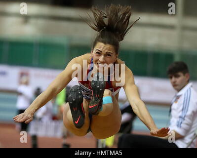 Moscow, Russia. 5th Feb, 2017. Russia's Marina Buchelnikova competes in the long jump event at the 26th Russian - Stock Photo