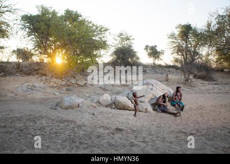 Zemba women in Epupa, Namibia. - Stock Photo