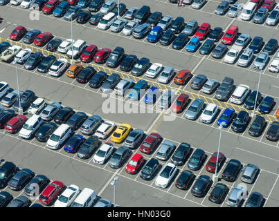 Aerial view of car park - Stock Photo