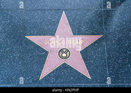 The Hollywood Walk of Fame, California, United States of America.  Future President Donald Trump's Star of Fame. - Stock Photo