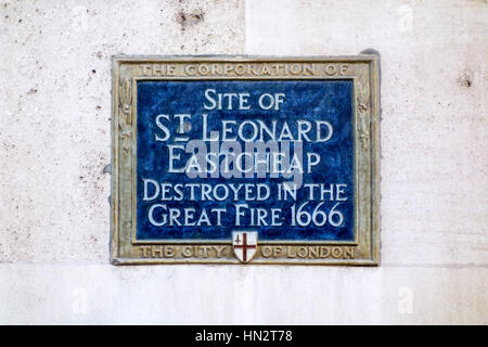 Blue Plaque showing the site of St Leonard Eastcheap, destroyed in the Great Fire of London 1666 - Stock Photo