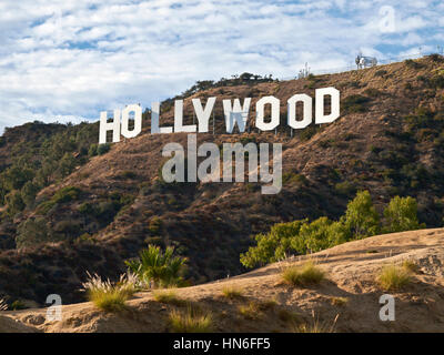 Hollywood, California, USA - September, 29th 2010:  The world famous landmark Hollywood Sign in LA's Griffith Park. - Stock Photo