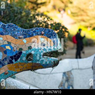 Mosaic lizard sculpture by Gaudi, Guell Park, Barcelona, Catalonia, Spain - Stock Photo