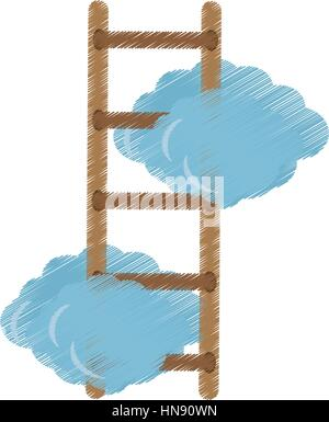 Clouds with ladder icon image, vector illustration design - Stock Photo