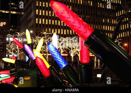 Giant Christmas Ornaments, Lower Midtown, Manhattan, New York City - Stock Photo