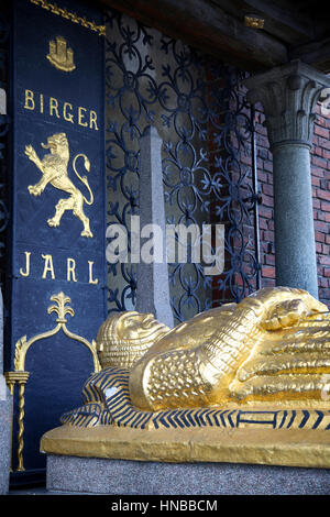 STOCKHOLM, SWEDEN - AUGUST 20, 2016: Cenotaph of Birger Jarl (Birger Magnusson) c. 1210 - 1266. in the Stockholm - Stock Photo