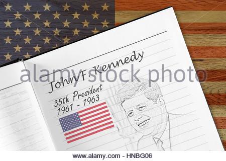 John F. Kennedy, presidency sketch - Stock Photo