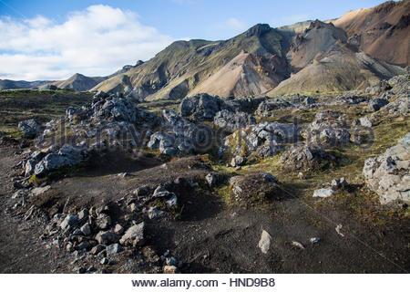 Volcanic Landscape Blue Sky - Stock Photo