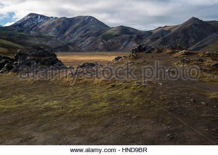Iceland, Highlands Lava Field Daylight - Stock Photo
