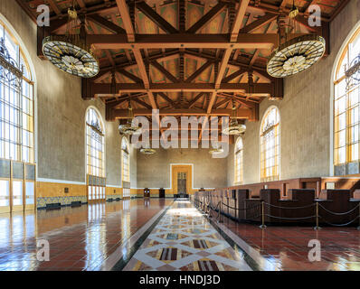 Interiors of the Union Station, Los Angeles, California, USA - Stock Photo