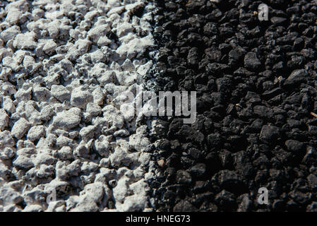 New asphalt texture with white dashed line - Stock Photo