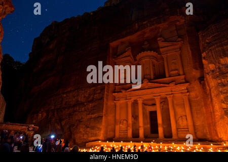 The way to Petra by candle lights - Stock Photo