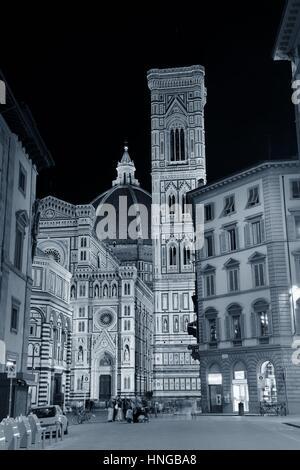 Duomo Santa Maria Del Fiore in Florence Italy street view at night. - Stock Photo