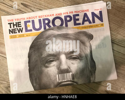US President Donald Trump on the front cover of the New European Newspaper - Stock Photo