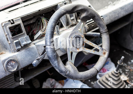 old broken car interior stock photo royalty free image 26817077 alamy. Black Bedroom Furniture Sets. Home Design Ideas